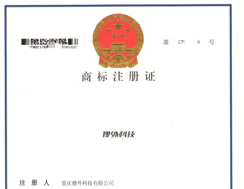 搜外科技®注册商标证书!